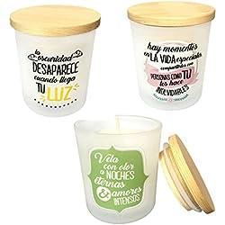 Pack de 6 velas originales con frases y aromáticas, ideales para el salón de tu casa.