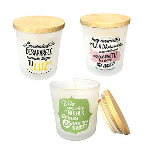 Pack 6 de velas aromáticas detalle de boda con frases bonitas.