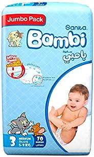 Sanita Bambi Baby Diapers Jumbo Pack Size 3, Medium, 5-9 KG, 70 Count