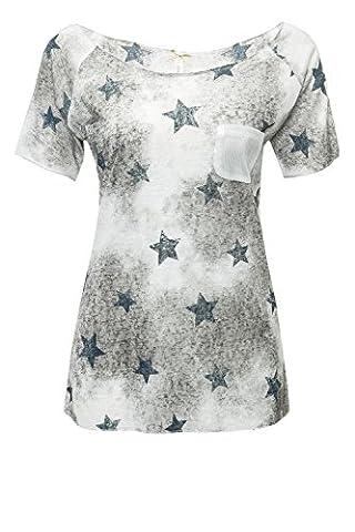 Key Largo Damen T-Shirt Kurzarmshirt Print Shirt (S, Offwhite)
