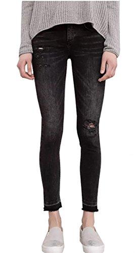 Tribear Damen Hight Waist Jeans Hose Röhrenjeans mit Riss Knie Destroyed Hose (M/36, schwarz) (Jeans Taille-washed)