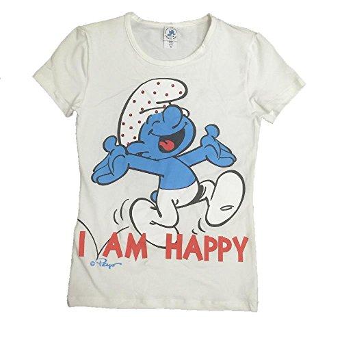 T-shirt Donna I Puffi con Strasse, Maglietta Maniche Corte *05700 - Bianco S