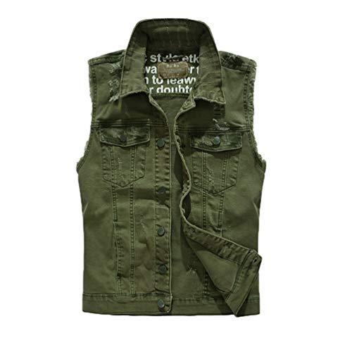 Kairuun Uomo All'aperto Casual Giacca di Jeans Senza Maniche Verde Militare Panciotto Capispalla Denim Slim Fit Gilet