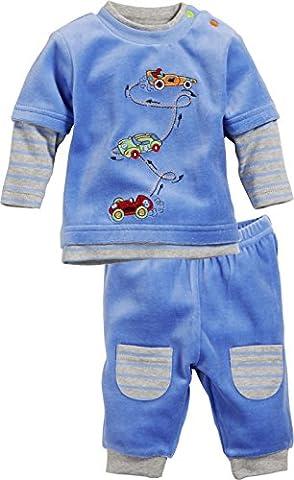 Schnizler 2-Piece Nicki Long Sleeve Shirt and Bottoms Racing Cars, Survêtement Bébé Garçon, Bleu - Bleu, Newborn (Taille fabricant:56)
