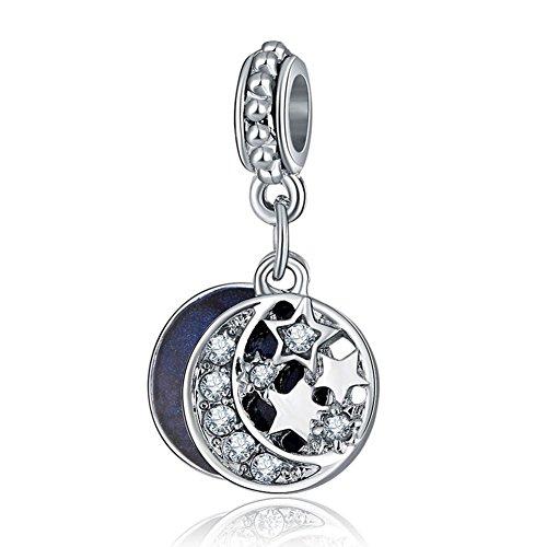 WAYA Silber Charms Mond Sterne Perlen Für Anhänger Halskette Armbänder Armreif Schlangenkette...
