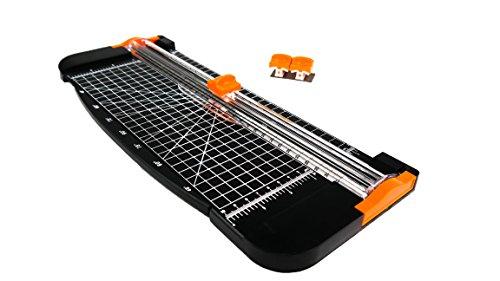 Paper Cutter DIN A4 Papierschneidemaschine mit 2 Ersatzklingen, Rollenschneider für Papier & Foto - Schneidegerät - Schneidemaschine - Papierschneider