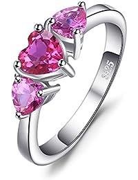 JewelryPalace Anillo de boda Elegante Amor Corazón 1.2ct Rosa Zafiro Creado en plata de ley