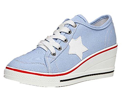 Wealsex Baskets Mode Chaussure De Sport Sneakers Chaussures En Toile Chaussure Basse Noir Blanc étoile à cinq branches Femme Bleu