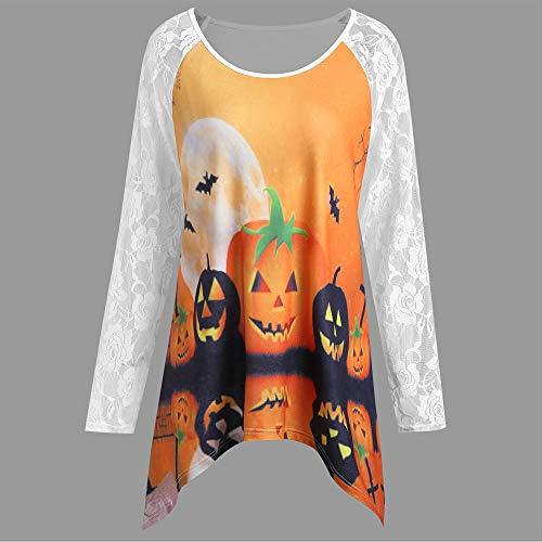 iYmitz Neu Damen Baumwolle Oberteil für Halloween Kürbis 3D Drucken Mode Langarm Bluse mit Spitze Patchwork Streetwear Asymmetrisch T-Shirt Tops(Weiß,EU-40/CN-XL)