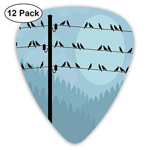 Celluloid Guitar Picks - 12 Pack,Abstract Art Colorful Designs,Autumn Fall Countryside Landscape With Hills Full Of Trees Forest Woodland,For Bass Electric & Acoustic Guitars. (Halloween Forest Hill)