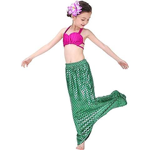 ZAIQUN 3PCS Las Niñas Bikini Ropa de Baño Atractiva Bikini Vestido de Playa de La Sirena con la