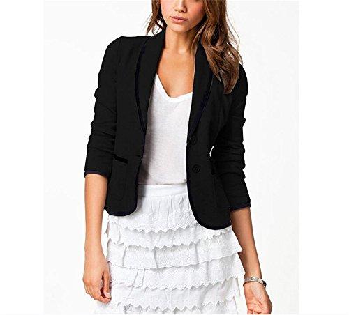 Hippolo Damen Casual Womens Short Suit Langarm Jacke Kurzer Abschnitt Revers Slim Vintage Oberbekleidung (4XL, Schwarz) (Slim Womens Short)