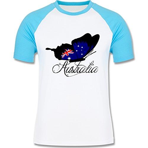 Kontinente - Schmetterling Australia - zweifarbiges Baseballshirt für Männer Weiß/Türkis