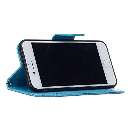 """mo-beauty ® iPhone 7Plus Retro Floreale Custodia a portafoglio in pelle PU [Free protezione per lo schermo in vetro temperato], elegante, con cinghia da polso vintage BEAR Pattern Design Portafoglio in pelle PU per Apple Iphone 7Plus Blue iPhone 7 Plus (5.5"""" Inch)"""