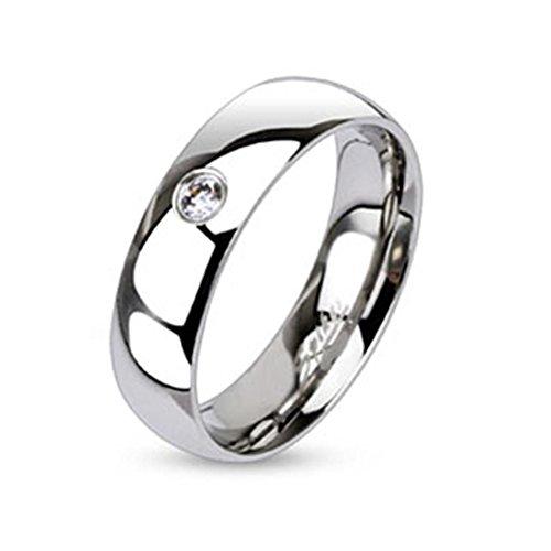 Paula & Fritz® Ring aus Edelstahl Chirurgenstahl 316L Klassischer Bandring 6mm breit mit einzelnem Zirkonia 50 (16)