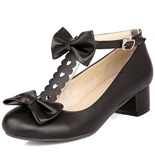 TAOFFEN Damen Gemutlich T-Spange Niedrig Absatz Pumps Schnalle Strap Shoes mit Bogen Schwarz