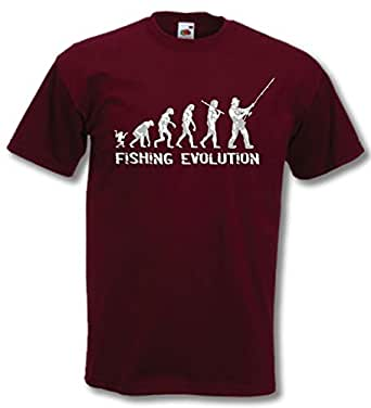 Fishing Evolution - Funny Birthday Gift / Present Mens T-Shirt Burgundy M