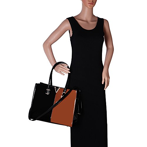 LeahWard® Damen Umhängetasche Handtaschen Große Schultertasche Für Sie PATENT V Schwarz/D.nackt
