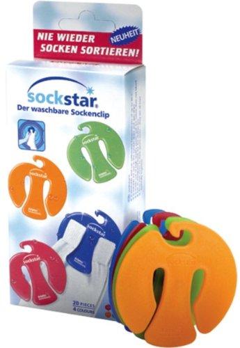 Pinces à chaussettes Sockstar Basic Line - format familial = kit de 20 pièces en 4 couleurs