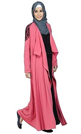 Pink Shrug Abaya with Lace Detail-Pink-2XL
