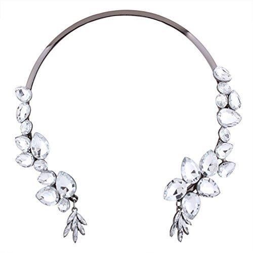 Spangen Designer (DesiDo® Statement Collier Halsreif Hals Spange Designer Kette Necklace Jewel Collar mit Strass Kristall Diamanten in Gold- und Silber-Optik (Silber))