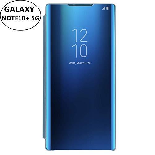 AICase Kompatibel mit Samsung Galaxy Note 10+ Plus 5G Hülle-Folio-Schutzhülle für Galaxy Note 10+ 5G, Flip Handy Case Clear View Standing Cover mit Wake up/Sleep Funktion (Blau)