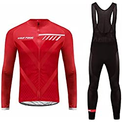 Uglyfrog #06 2018 Nuevo De Invierno Mantener caliente Manga Larga Maillot Ciclismo Hombre Bodies +Long Bib Pant with Gel Pad Winter Style