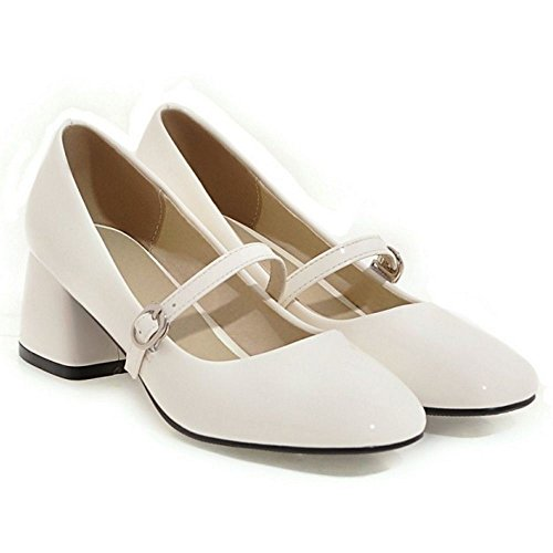 RAZAMAZA Femme Doux Bout Ferme Carre Bloc Talon Moyen Escarpins A Enfiler Chaussures Mary Janes Blanc
