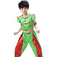 BOZEVON Unisex Niños Sin Mangas Tang Traje de Artes Marciales Kung Fu Uniformes Ropa De Tai Chi Disfraces, Amarillo