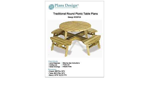 Superb Traditional Round Picnic Table Benches Woodworking Plans Pabps2019 Chair Design Images Pabps2019Com