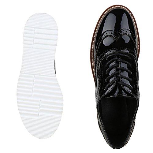 Japado - Chaussures À Lacets Schwarz Lack Plateau Pour Femme