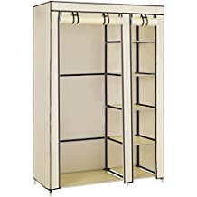 SONGMICS Double Canvas Wardrobe Clothes Storage Organiser Bedroom Furniture Cupboard with 6 Shelves & Hanging Rail Beige 110 x 45 x 175cm (W x D x H) LSF007M