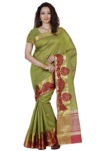 Mimosa By Kupinda Women's Tusser Silk Saree Kanjivaram Style Color :Olive (3448-2085-BI-1-OLV-MRN)  available at amazon for Rs.1499