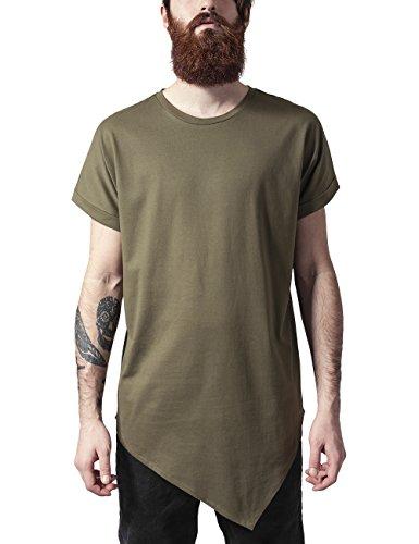 Urban Classics TB1227 Herren T-Shirt Asymetric Long Tee, Gr. Medium, Grün (Olive 176) (Grüner Herren Tee)