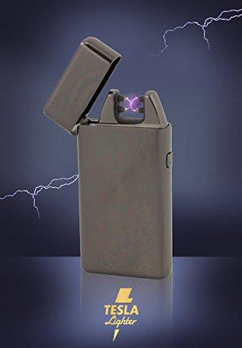 Tesla-Lighter T05 Lichtbogen Feuerzeug Plasma Double-Arc elektronisch wiederaufladbar. Aufladbar per USB mit Strom ohne Gas und Benzin. Mit Ladekabel in edler Geschenkverpackung Schwarz gebürstet