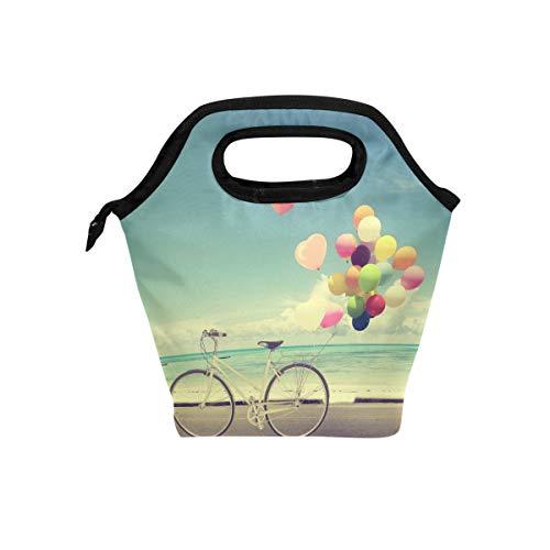 LIANCHENYI Fahrrad Vintage mit Herz Ballon Strand Kühltasche Warm Tasche Lunchbox für Schule Arbeit tragbare Mahlzeit Handtaschen Lebensmittelbehälter Tragetasche für Picknick