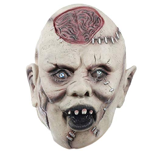 (Halloween Maske Halloween Vivid Schädel Maske Terror Grimasse Tricky Brains Umweltschützende Latex Kopfbedeckung Horrible Party Requisiten von Ballylyly)