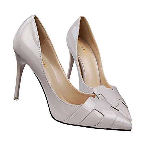 JNTworld Femmes Talons Pointu Bout Mirrored Cuir Verni Robe Pompes Gris
