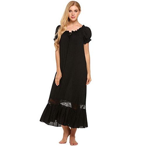 WDDGPZSY Nachthemd/Nachtwäsche/Schlafhemd/Homewear/Pyjamas/Elegante Vintage Nachthemd Frauen Schulterfrei Kurzarm Rüschen Nachtwäsche Lounge Kleid Spitze PatchworkNachtwäsche, Schwarz, XL