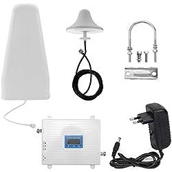 Amplificateur de Signal, KKmoon 110-220V Tri-Amplificateur 900 1800 2100 GSM DCS WCDMA Kit de répéteur intelligent amplificateur de signal universel 2G / 3G / 4G LTE