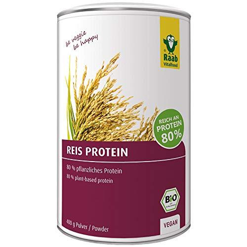 Raab Vitalfood Bio Reis-Protein Pulver mit 80 {d5051be688914851698914449ba5746b5843ccda411a29545954be196a7c9506} pflanzlichem Eiweiß, aus biologischem Anbau, vegan, laborgeprüft in Deutschland, für Shakes, 400 g