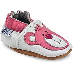 Petit Marin - Zapatos de Bebé - Zapatillas de Niño Niña - Patucos de Piel con Elástico para Bebé - Zapatitos Primeros Pasos - Pantuflas Infantiles 0-6 Meses 6-12 Meses 12-18 Meses 18-24 Meses