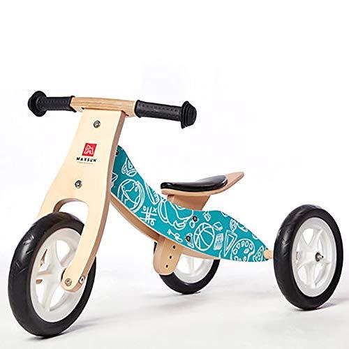 SHARESUN 2 in 1 Kinder Dreirad für 1-3 Jahre alt Jungen Mädchen, Kinder Trike Kleinkind Dreiräder Balance Bike Holz Trike, Kind 3 Räder Kids Walking Dreirad,Blue