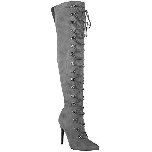 Fashion Thirsty Damen Hoch Schenkelhoch Overknee Stiletto Stiefel Schnürschuh Schuh Größe - Grau Kunstwildleder, 39 (Stiefel Hohe Overknee)