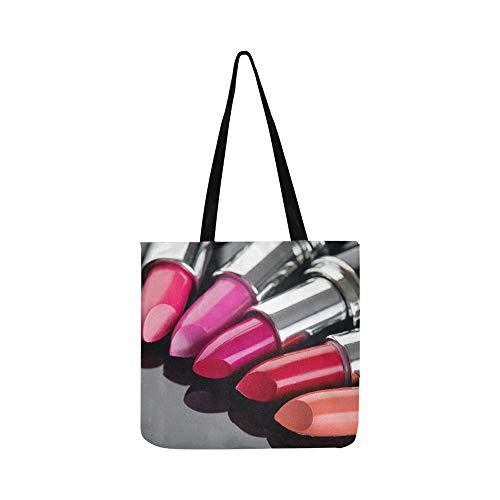 Mode Lippen Patch Mit Lippenstift Leinwand Tote Handtasche Umhängetasche Crossbody Taschen...