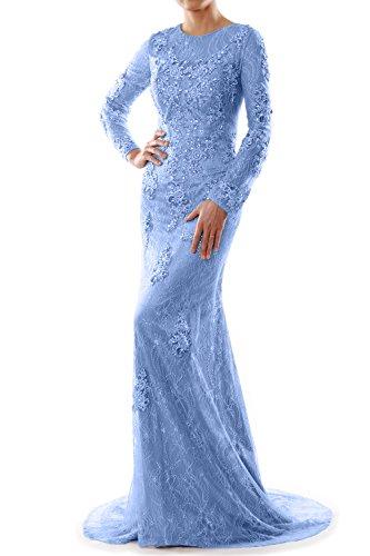 MACloth - Robe - Trapèze - Manches Longues - Femme Bleu - Bleu ciel