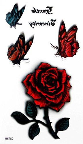Grashine new design tatuaggi temporanei farfalle colorate con rosa rossa impermeabile e non tossico fake temp tattoo sticker