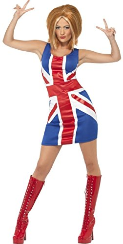 Fancy Me Damen sexy schick Ingwer Baby unheimlich sportlich Spice Girls 1990s Promi Henne Do Halloween Kostüm Kleid Outfit UK 8-18 - Ingwer, 16-18 (Promi-halloween-kostüme Für Erwachsene)