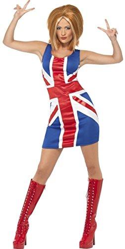 Fancy Me Damen sexy schick Ingwer Baby unheimlich sportlich Spice Girls 1990s Promi Henne Do Halloween Kostüm Kleid Outfit UK 8-18 - Ingwer, 16-18 (Unheimlich Sexy Halloween Kostüme)
