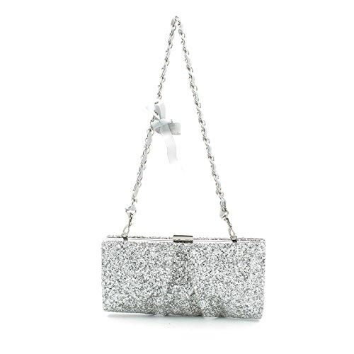 Pochette borsa donna / woman SARA LOPEZ con decorazioni a rilievo bo16315 Argento